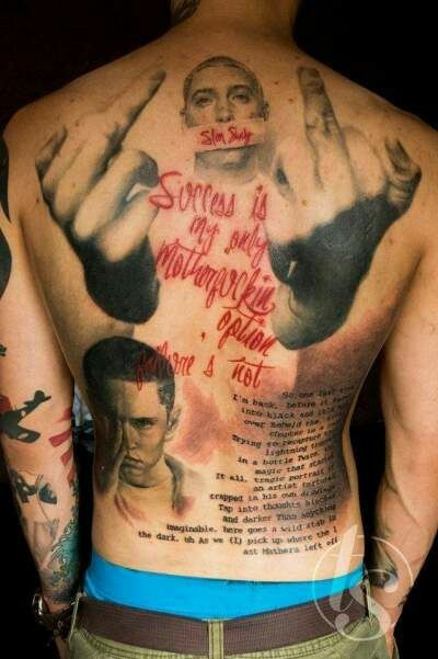 Eminem Back Tattoo This Is Amazing Tat Me Up Pierce Me Down - Tatuajes-eminem