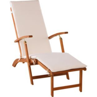 Folding Beach Chairs Argos Theater Recliner Buy Steamer Chair With Cushion Natural At Co Uk Your Online Shop For Garden And Loungers