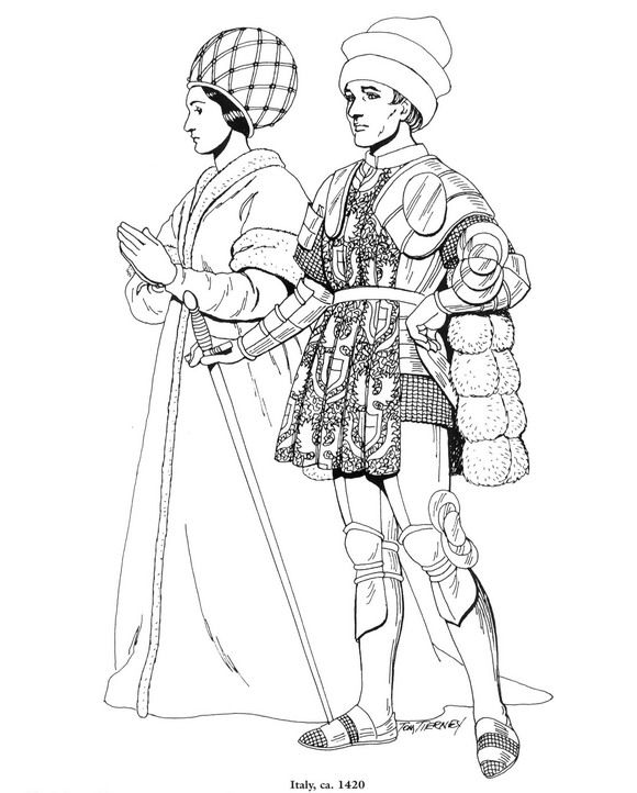 Coloring Pages Clothing: Coloring Page Clothing Of The Renaissance Kids-n-Fun