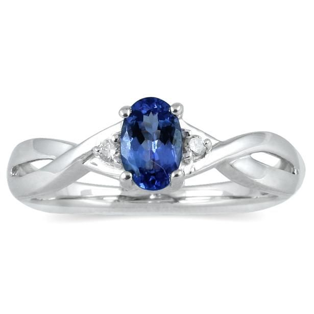 Sapphire and Diamond Ring in 10K White Gold - SPR12342SP7.0
