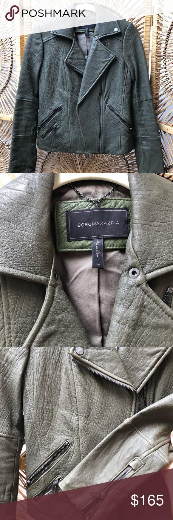 Bcbg 100 Leather Jacket Olive Green Leather Jacket Green Leather Jackets Jackets [ 1740 x 580 Pixel ]
