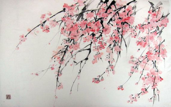 Sakura Japanese Ink Painting Suibokuga Sumi E Cherry Blossoms