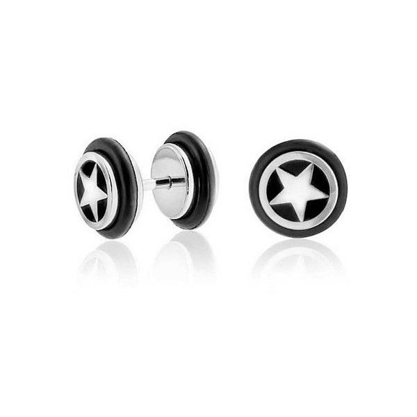 Bling Jewelry Star Illusion Fake Black Ear Plug Surgical Steel 16G (£8.49) ❤ liked on Polyvore featuring jewelry, earrings, black, black star earrings, fake jewelry, imitation jewelry, fake earrings and black diamond earrings