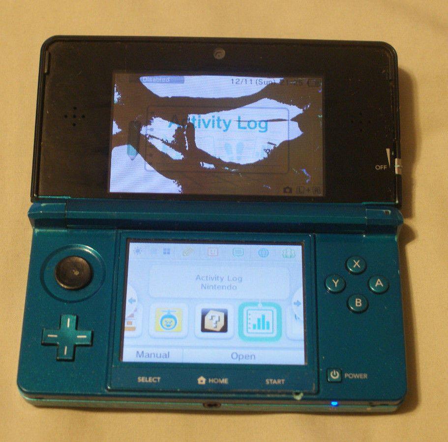 Nintendo 3DS Aqua Blue Handheld System / Bad Top Screen for parts repair as is #Nintendo