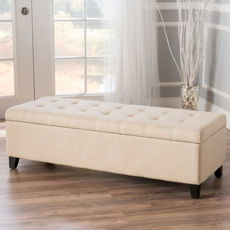 Excellent Noble House Munford Beige Tufted Fabric Storage Ottoman Evergreenethics Interior Chair Design Evergreenethicsorg