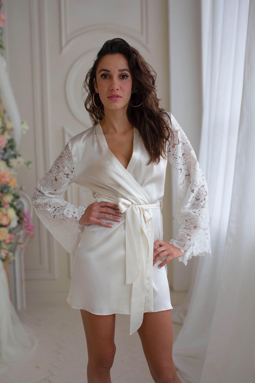 bridal lingerie dressing gown personalized robe Kimono robe bridesmaid gifts wedding bride robe satin robe lace sleeves white robe