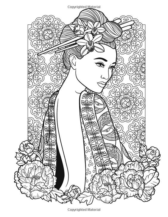 Asian beauty | Coloring books, Fashion coloring book ...