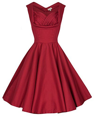 Lindy Bop Ophelia Vintage 1950s Prom Swing Dress (XS, Red) | F for ...