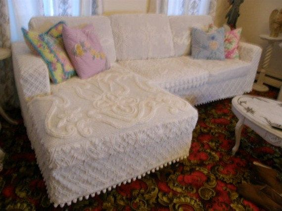Shabby Couch Sofa Sectional Chic White Vintage Chenille Bedspread Slipcover  Pom Pom Trim