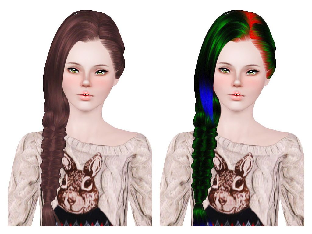 Side Fishtail Hairstyle Skysims 179 Retextured By Neiuro For Sims 3