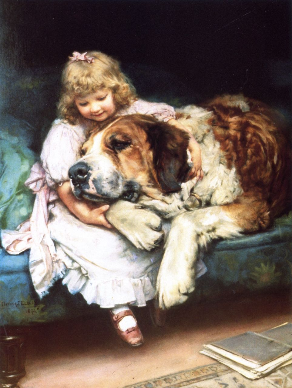 English Print Saint Bernard Dog Girl Art Picture