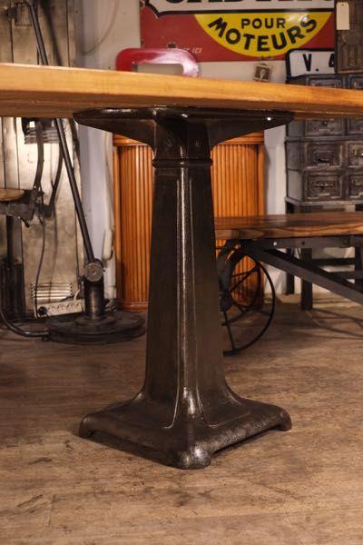 Table Industrielle Pied Fonte Ancien Dessus Bois Tables En