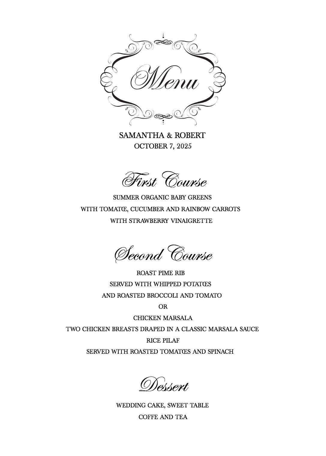 Download Free, Stylish Templates for Your Wedding Menu #weddingmenutemplate Download a Free Wedding Menu Template #weddingmenutemplate