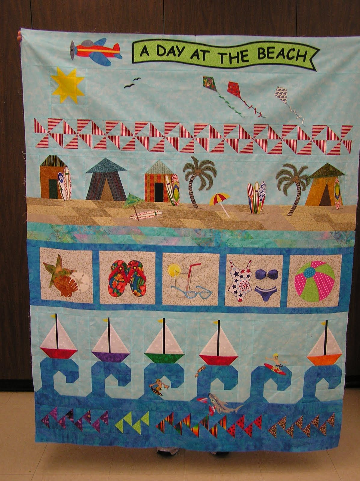 Quilting With Karen A Day At The Beach A Row Quilt Row Quilt Beach Quilt Quilts