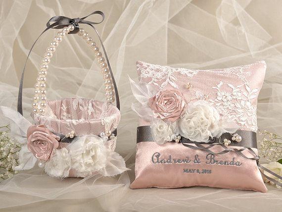 Vintage Flower Girl Basket And Ring Bearer Pillow : Flower girl basket ring bearer pillow set peach satin