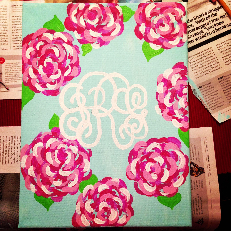 Lilly Pulitzer canvas with monogram   DIY   Pinterest   Cuadro ...