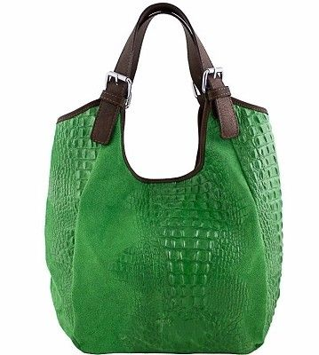 Etasico Myra Hobo Bag Italian Leather Croco Print Handbag Emerald ...