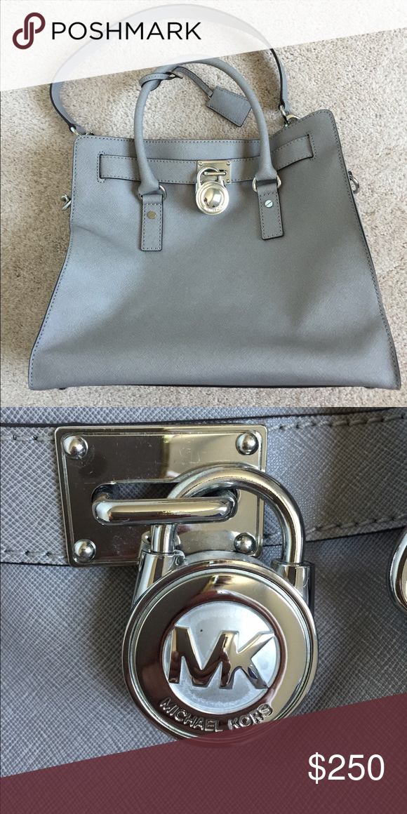Large Hamilton bag Gorg Michael Kors large Hamilton in gray saffiano  leather. Rare color. EUC. Comes with dust bag. Michael Kors Bags Shoulder  Bags b2f2fa617b
