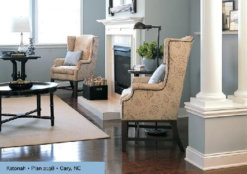 Suzie Kb Home  Ivory & Blue Living Room Design With Wingback Magnificent Wing Chairs For Living Room Inspiration