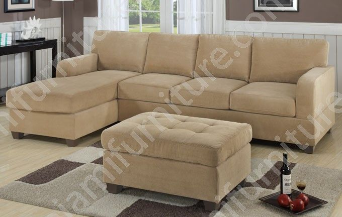 2-Pcs Sectional Sofa waffle Suede / Khaki $799 Living Room