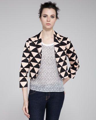 Tanzanite Printed Cropped Blazer from Neiman Marcus - geometric triangles shake up things