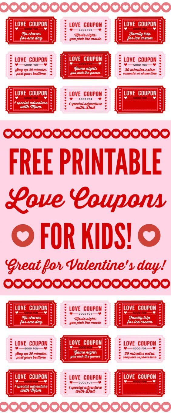 Free Printable Love Coupons For Kids On Valentine S Day Love Coupons Valentine S Day Printables Valentines Diy