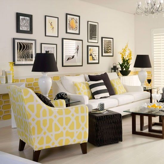 Monochrome and yellow living room traditional living for Living room yellow walls