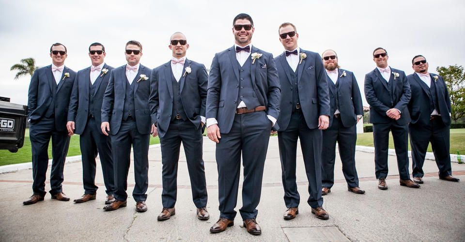 Navy blue notch lapel suit for the groom and groomsmen | Real ...