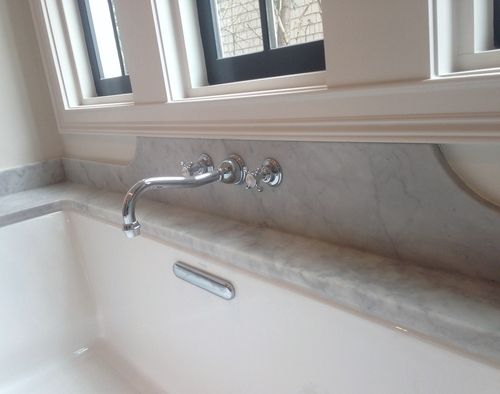 Tasha B Davis Interiors Custom Marble Backsplash Wall Mounted Tub Filler Polished Nickel Faucet Small Bathroom Interior