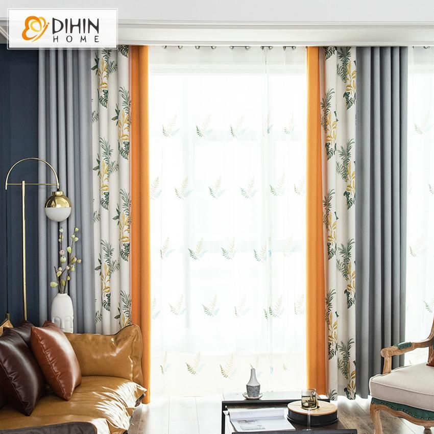 Dihin Home Pastoral Printed Spliced Curtains Blackout Grommet