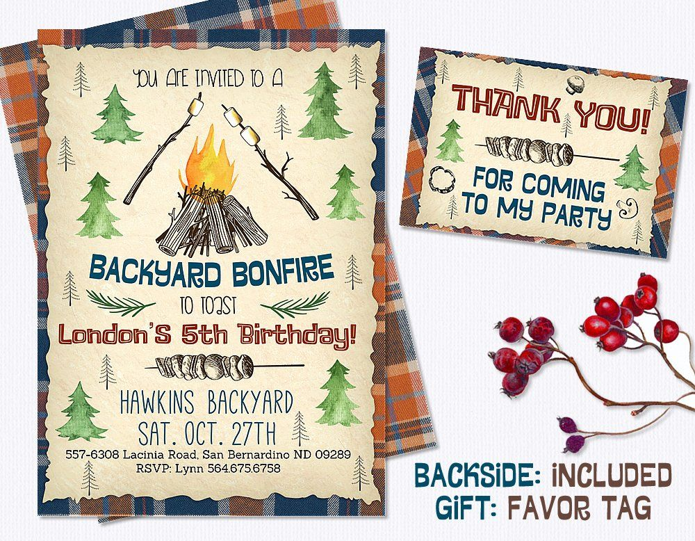 Bonfire Birthday Invitation Backyard Invitations Camping Party Invite Fall Smore By