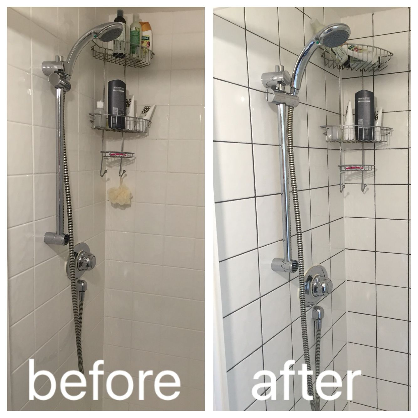 Regrouting with dark grey grout to modernise a boring shower regrouting with dark grey grout to modernise a boring shower working with current square tiles and adding on in shower dailygadgetfo Images