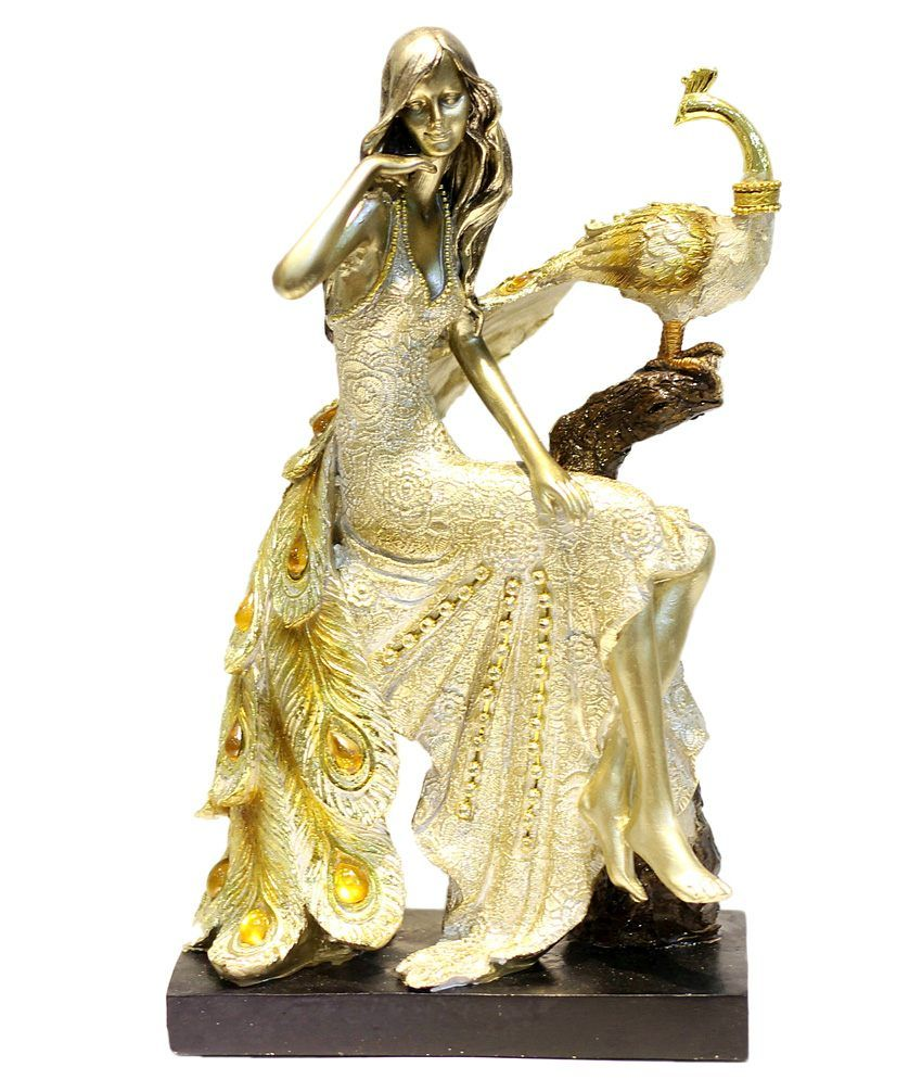 X-gift Beige Resin Peacock With Princess Lady Showpiece | home decor ...