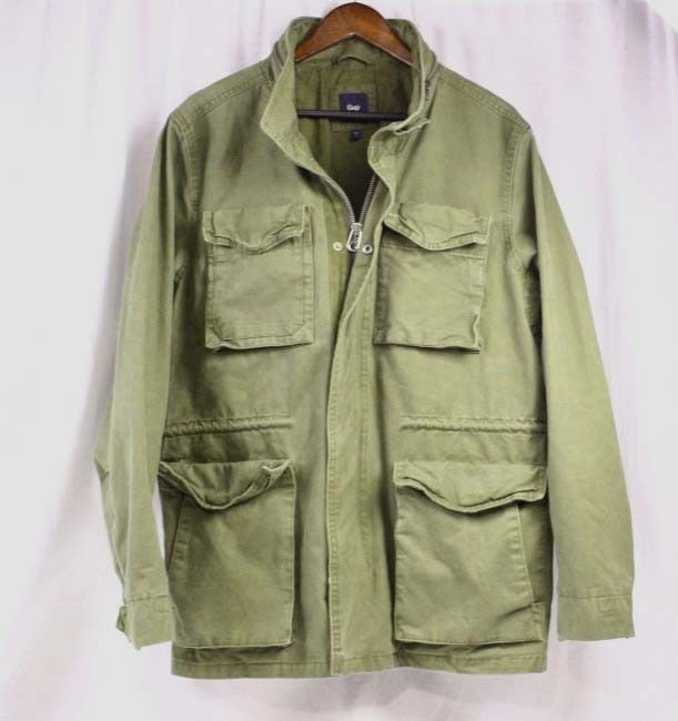 9f3378424b620 GAP Olive Green Canvas Military Army Field Jacket M-65 Utility Jacket Coat  Men L #Gap #Military