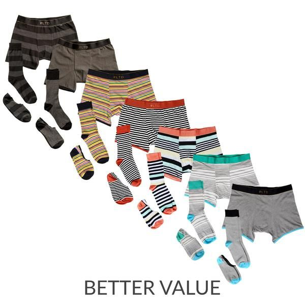 7 Sets of matching socks, no-show socks and boxer briefs.