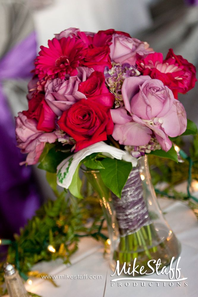 Wedding Flowers Bouquet Purple And Red Michigan Mike Staff