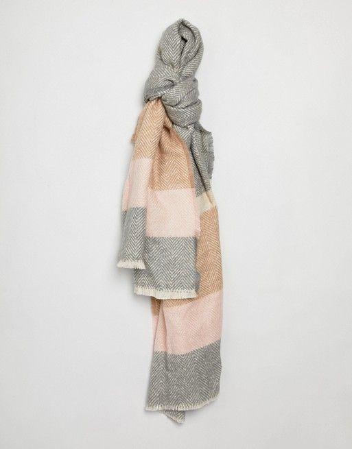 bc9fa0c23a69a ASOS DESIGN | ASOS DESIGN long oversized herringbone scarf in pastel stripe