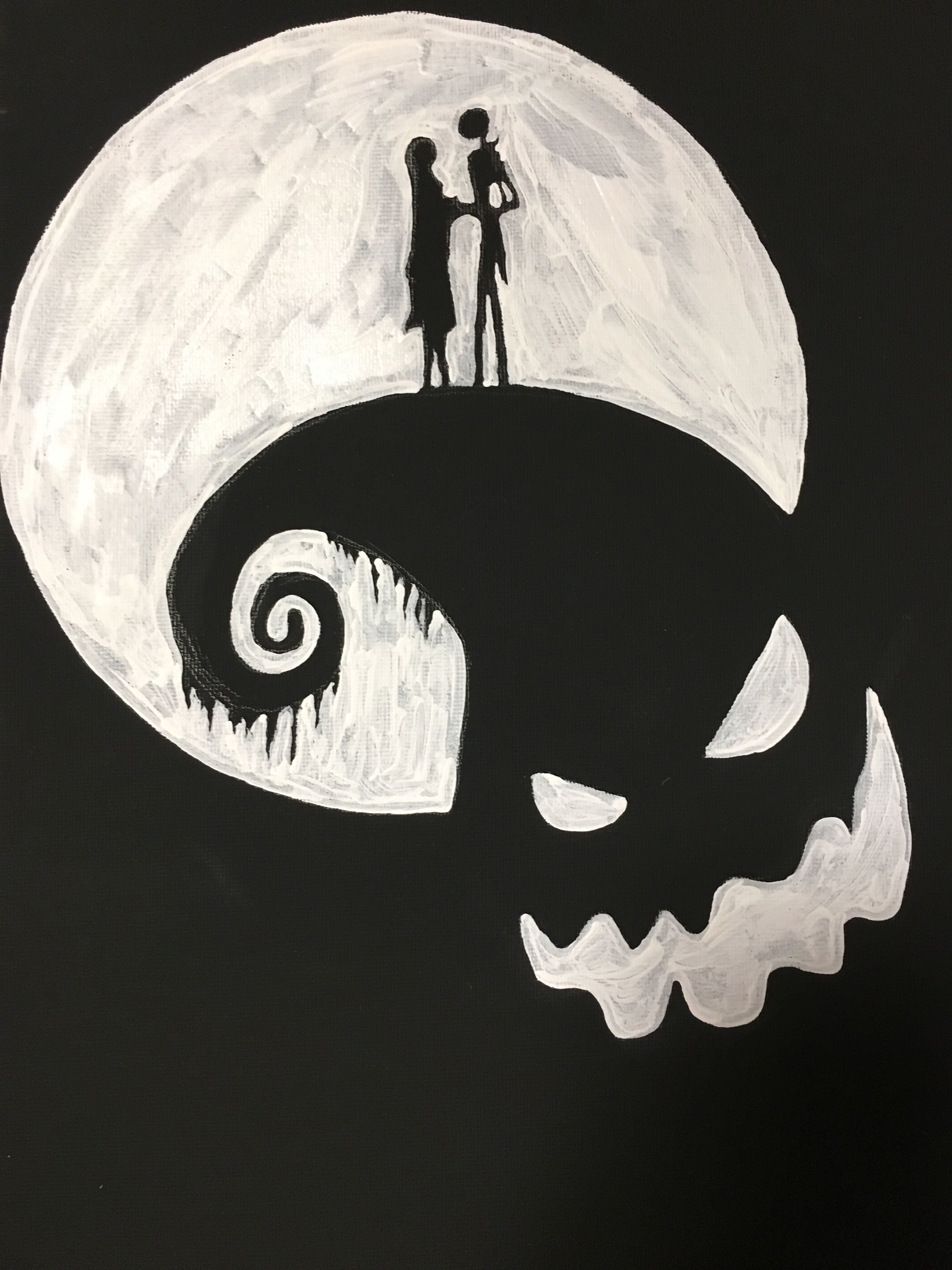 The Nightmare Before Christmas canvas painting using a black