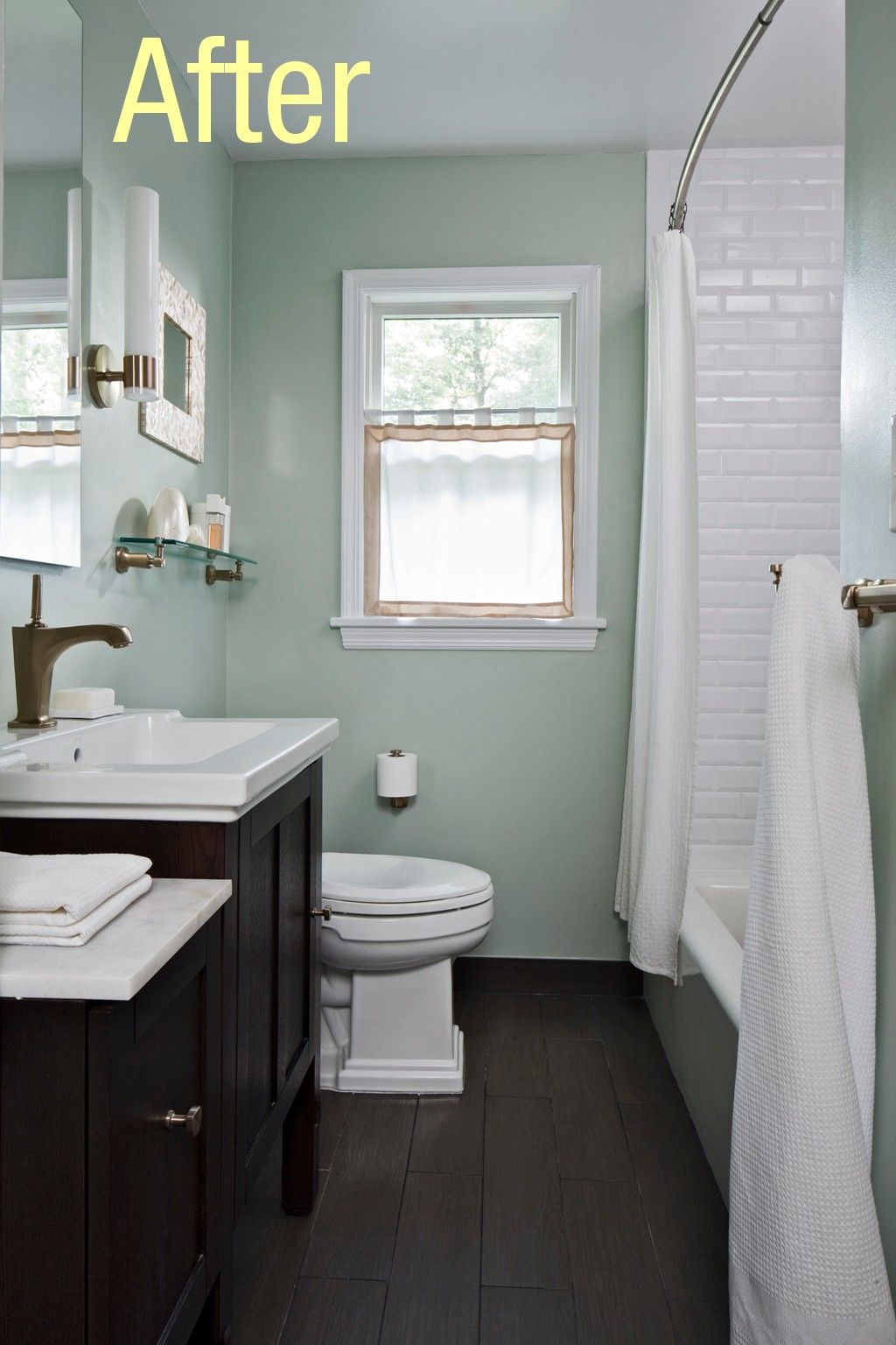 Would you put wood floors in your bathrooms small for Hardwood floors in bathroom