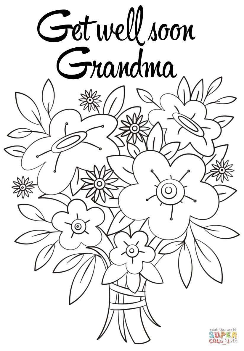 Get Well Soon Grandma Coloring Page in 2020 Mom coloring