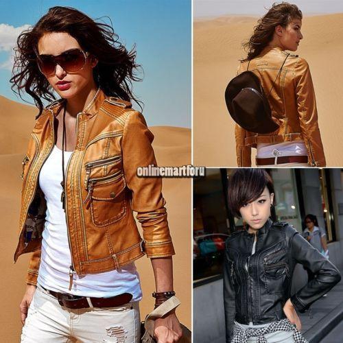 Women Stylish Slim Biker Motorcycle PU Leather ZIp Up Cardigan Short Jacket Coat