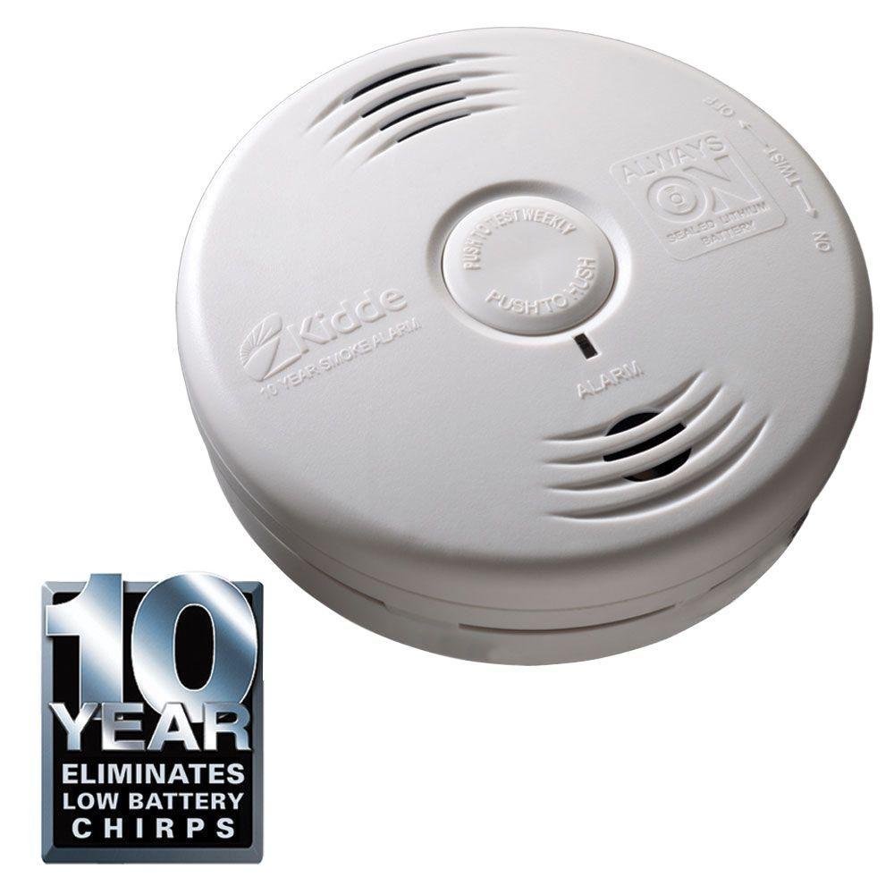 10 Year Lithium Battery Operated Bedroom Photoelectric Smoke Alarm With Voice Alert Safety Lights Smoke Detectors Home Depot