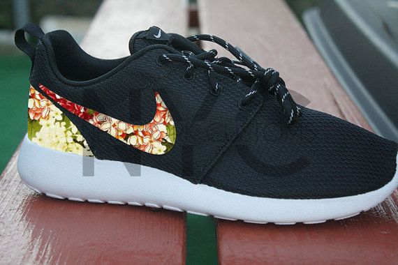 0427a5384e5f Lilac Garden Nike Roshe Run Floral Black Custom Men   by NYCustoms ...