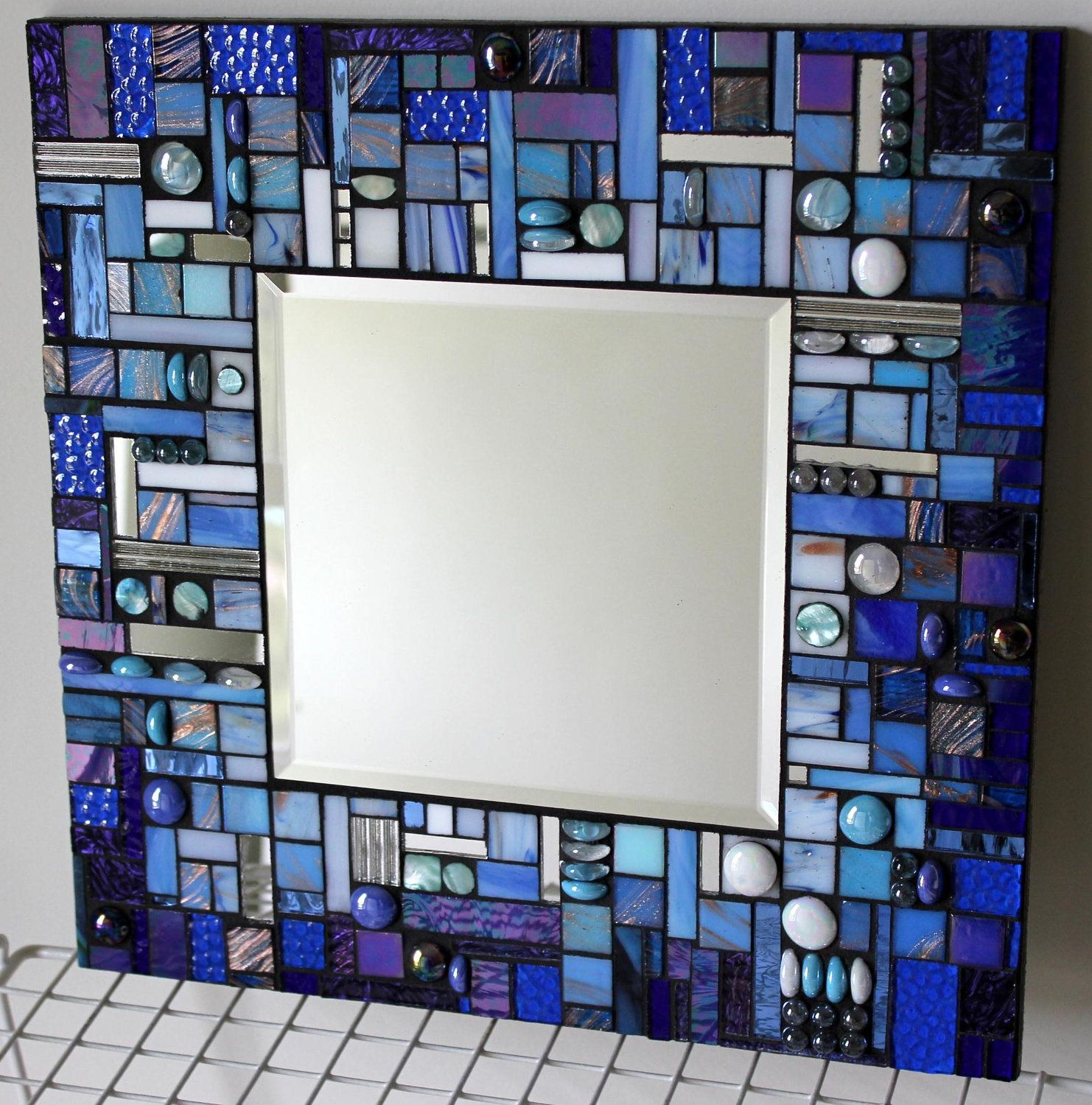 Mosaic Mirror, Multi Media, Stained Glass, White, Aqua, and Blue, Blue, Blue