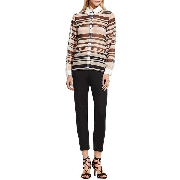 Vince Camuto Petite Zen Multi-Stripe Blouse ($37) ❤ liked on Polyvore featuring tops, blouses, moonbeam, petite, drop shoulder tops, striped top, vince camuto tops, petite tops and vince camuto blouses