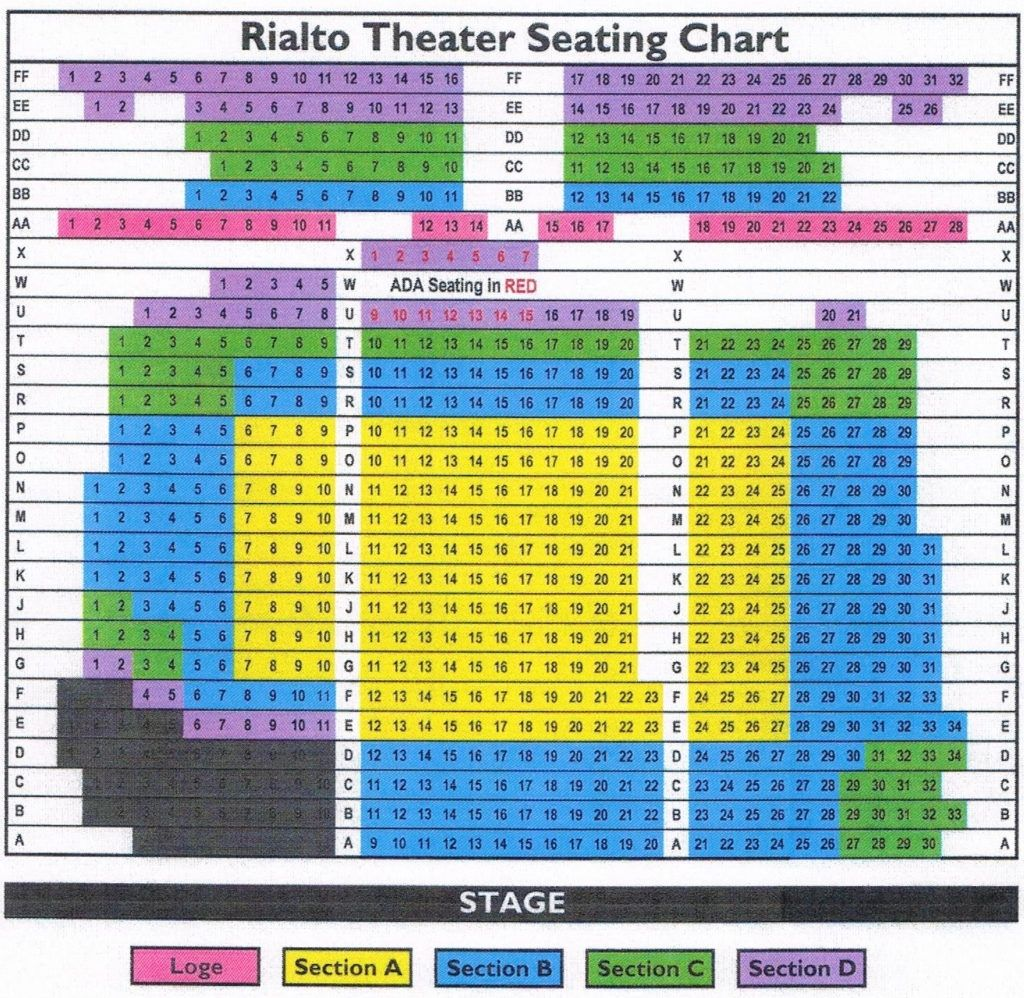 The Brilliant As Well As Attractive Rialto Theatre Seating Chart