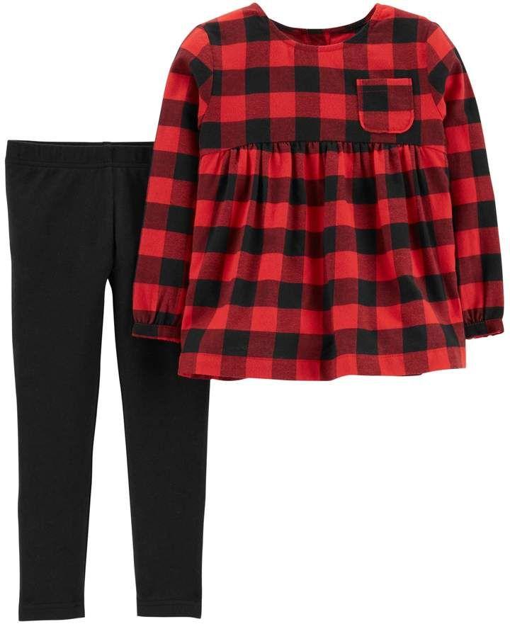 f315d44900702 Baby Girl Carter's Buffalo Check Babydoll Top & Leggings Set | Baby ...