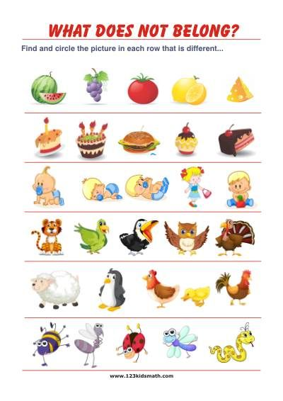 What does not belong? - Free Printable Activities for Preschool and ...