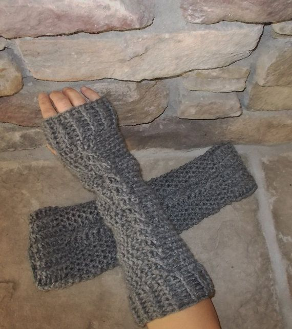 Crochet Fingerless Gloves Long Arm Warmers in Grey by MadeWithATwist