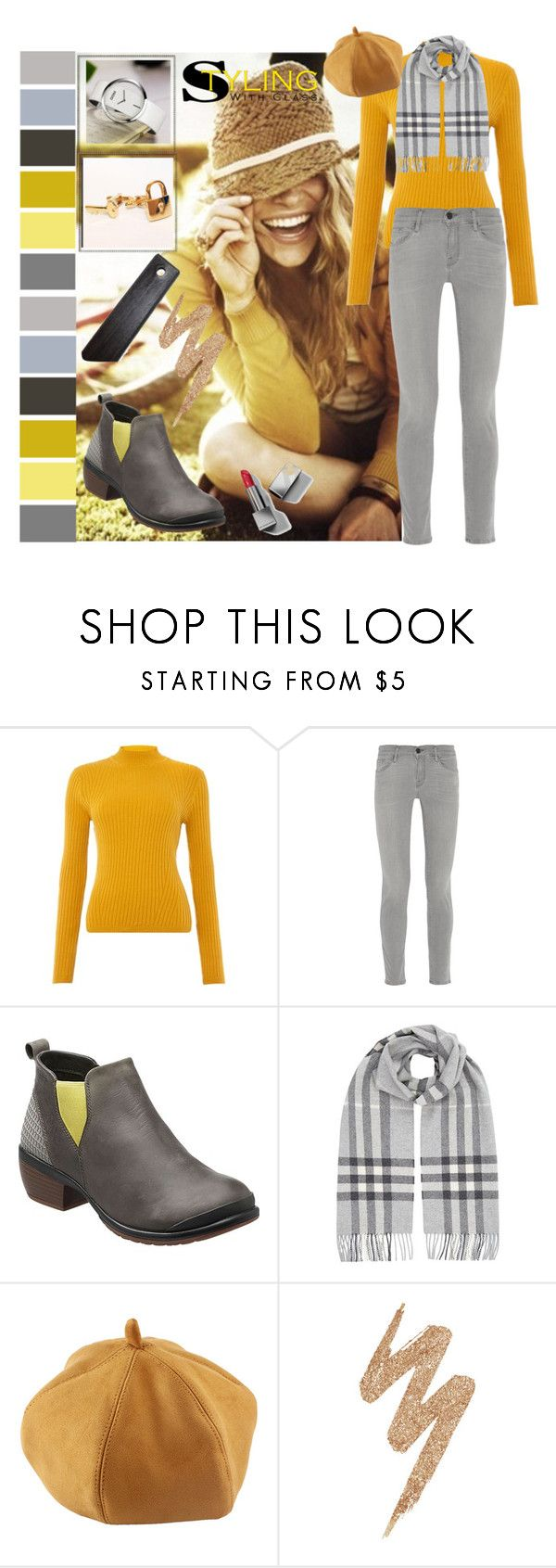 """""""Mustard Color Sweater"""" by freida-adams ❤ liked on Polyvore featuring Therapy, Frame Denim, Keen Footwear, Burberry, Urban Decay, bellastreasure, bellacuff and bellaswatches"""